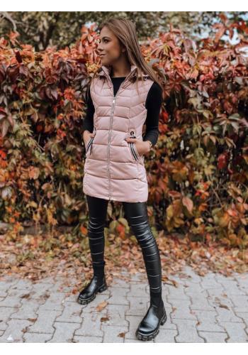 Dámská prošívaná vesta s odepínací kapucí v růžové barvě