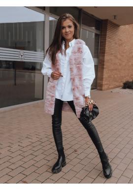 Růžová kožešinová vesta pro dámy