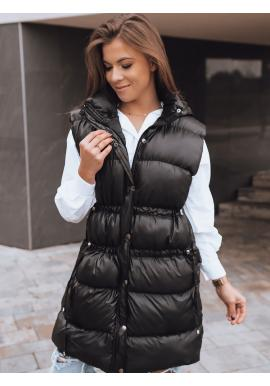 Dámská prošívaná vesta s regulací v pase v černé barvě