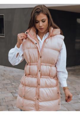 Prošívané dámské vesty růžové barvy s regulací v pase