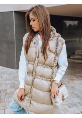 Světle béžová prošívaná vesta s regulací v pase pro dámy