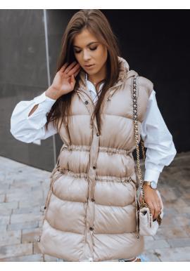 Prošívaná dámská vesta béžové barvy s regulací v pase