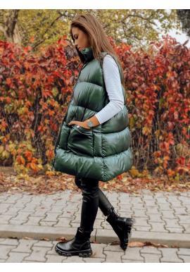 Rozšířená dámská prošívaná vesta zelené barvy se stojáčkem