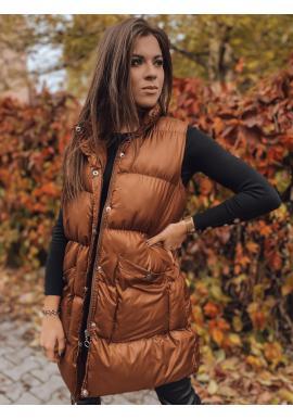 Dámská rozšířená prošívaná vesta se stojáčkem v čokoládové barvě