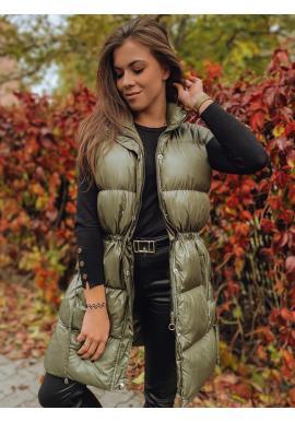 Olivová prošívaná vesta s regulací v pase pro dámy