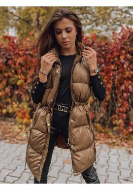 Prošívaná dámská vesta hnědé barvy s regulací v pase