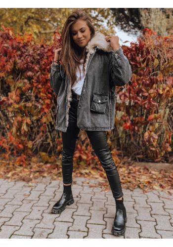 Riflová dámská oversize bunda tmavě šedé barvy s kožešinou