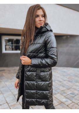 Dámské prošívané bundy s odepínací kapucí v černé barvě