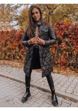 Prošívaná dámská bunda černé barvy s regulací v pase
