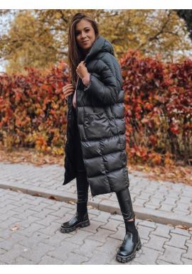 Černá zimní oversize bunda s neodepínací kapucí pro dámy