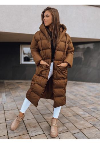 Dámská zimní oversize bunda s neodepínací kapucí v čokoládové barvě