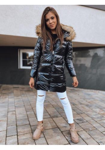 Lesklá dámská prošívaná bunda černé barvy na zimu