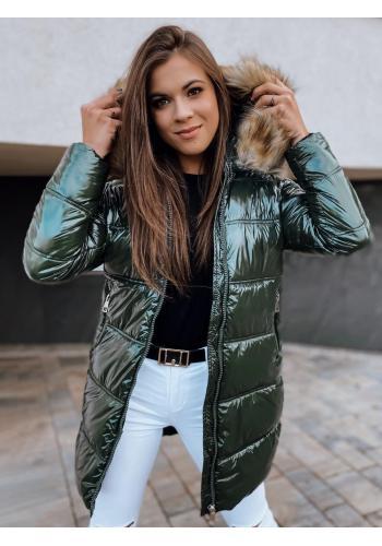 Zelená lesklá prošívaná bunda na zimu pro dámy