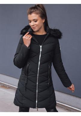 Dámská prošívaná bunda s přiléhavým střihem v černé barvě