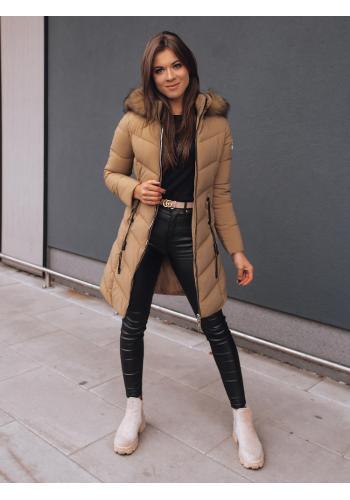 Prošívaná dámská bunda hnědé barvy s přiléhavým střihem
