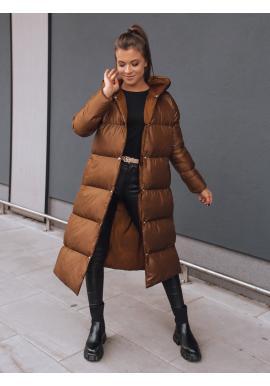 Čokoládová dlouhá prošívaná bunda na zimu pro dámy