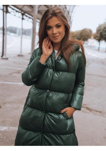 Dámské dlouhé prošívané bundy na zimu v zelené barvě