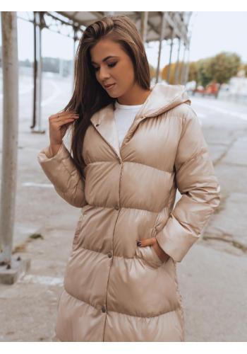 Dlouhá dámská prošívaná bunda béžové barvy na zimu