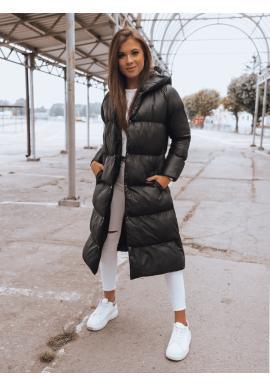 Černá dlouhá prošívaná bunda na zimu pro dámy