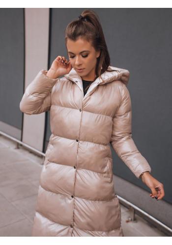 Dámská dlouhá prošívaná bunda na zimu v béžové barvě