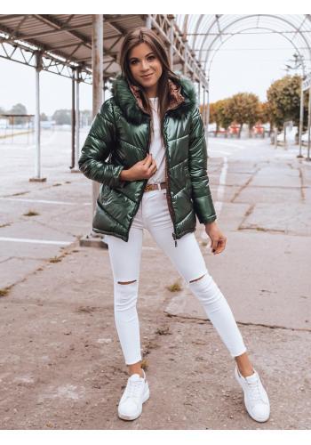 Dámská oboustranná bunda s kapucí v zelené barvě