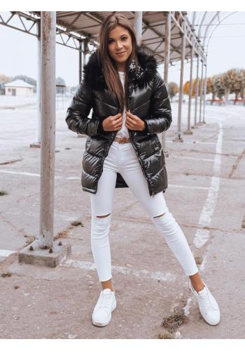 Asymetrická dámská bunda černé barvy na zimu
