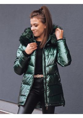 Zelená asymetrická bunda na zimu pro dámy