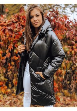 Dámská zimní bunda s neodepínací kapucí v černé barvě