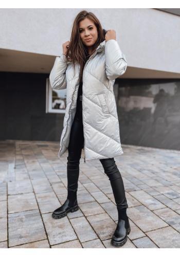 Zimní dámská bunda šedé barvy s neodepínací kapucí