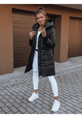 Dámská prošívaná bunda s neodepínací kapucí v černé barvě