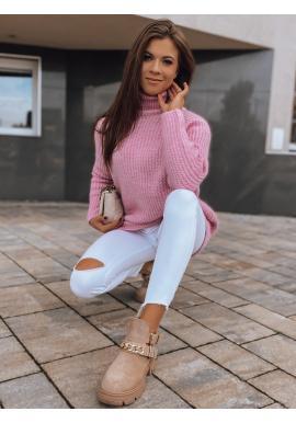 Dlouhý dámský svetr růžové barvy s rolákem