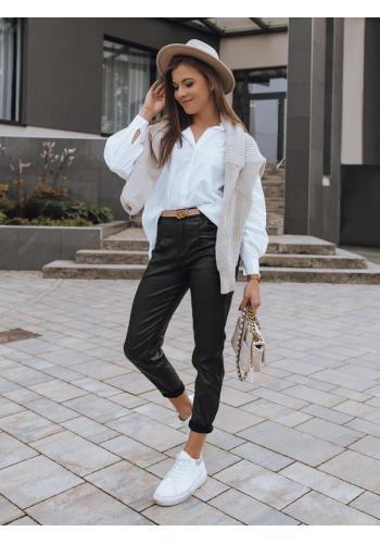 Voskované dámské kalhoty černé barvy s vysokým pasem