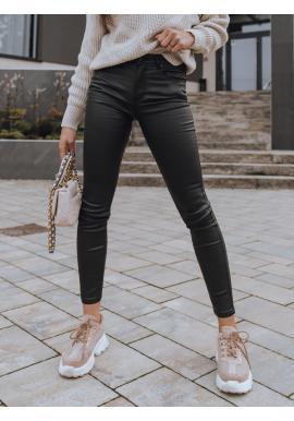 Černé voskované kalhoty s vysokým pasem pro dámy