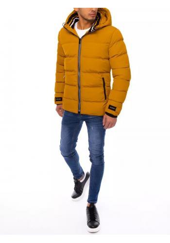 Prošívaná pánská bunda žluté barvy na zimu