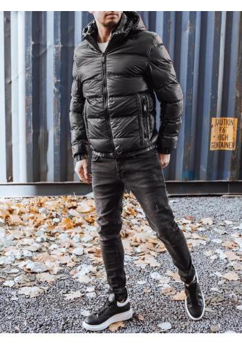 Zimní pánská bunda černé barvy s odepínací kapucí