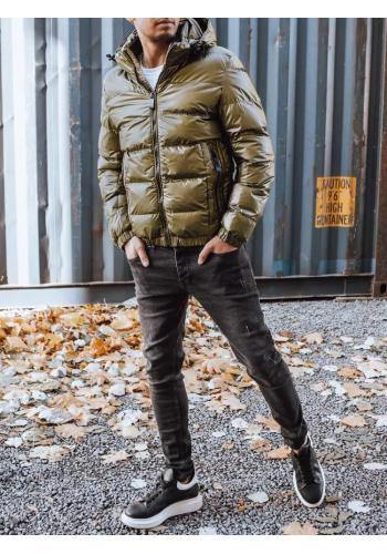 Pánské zimní bundy s odepínací kapucí v khaki barvě