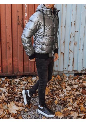 Stříbrná prošívaná bunda na zimu pro pány