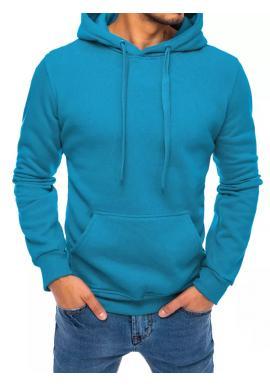 Klasická pánská mikina modré barvy s kapucí