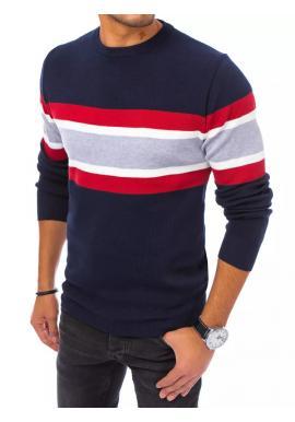 Módní pánský svetr tmavě modré barvy s kontrastními pruhy
