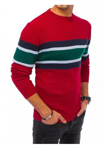 Bordový módní svetr s kontrastními pruhy pro pány