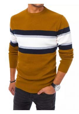 Pánský módní svetr s kontrastními pruhy ve velbloudí barvě