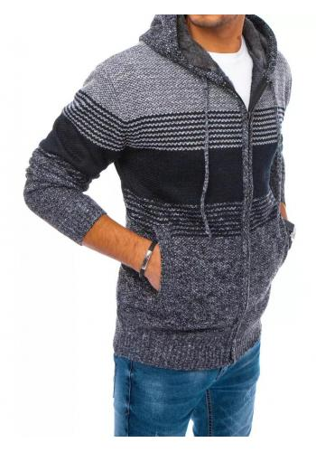 Zapínaný pánský svetr tmavě šedé barvy s kapucí
