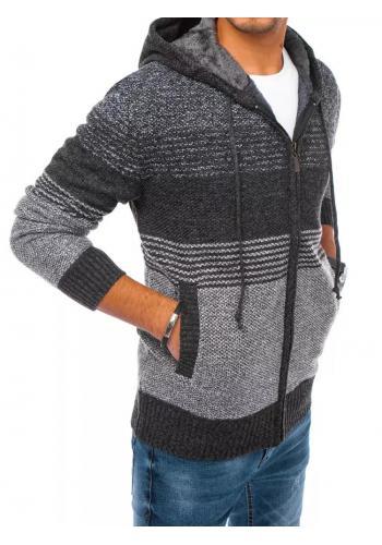 Tmavě šedý zapínaný svetr s kapucí pro pány