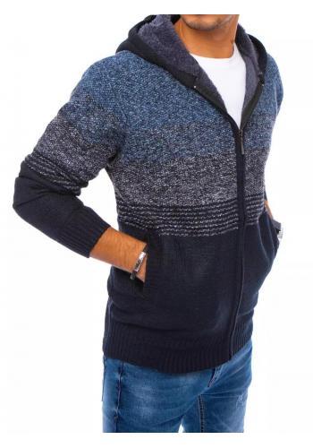 Pánský zapínaný svetr s kapucí v modré barvě