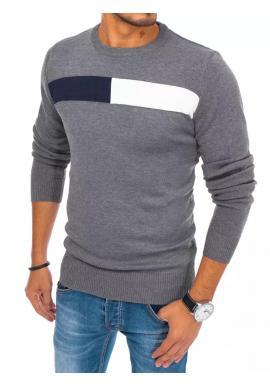 Klasický pánský svetr tmavě šedé barvy s kulatým výstřihem
