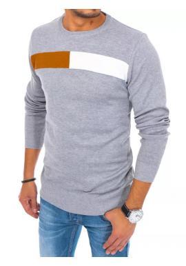 Světle šedý klasický svetr s kulatým výstřihem pro pány