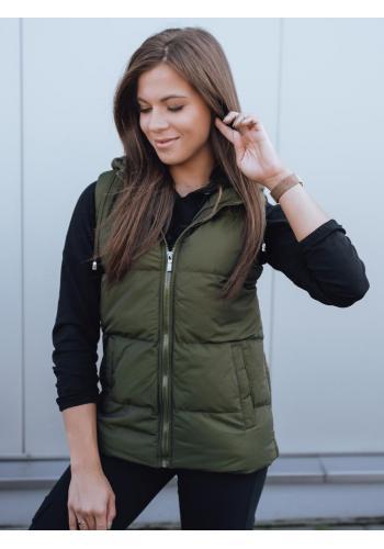 Zelená prošívaná vesta s kapucí pro dámy