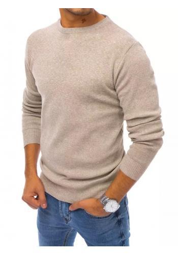 Klasický pánský svetr béžové barvy s kulatým výstřihem