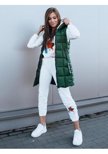 Dámská delší vesta s neodepínací kapucí v zelené barvě