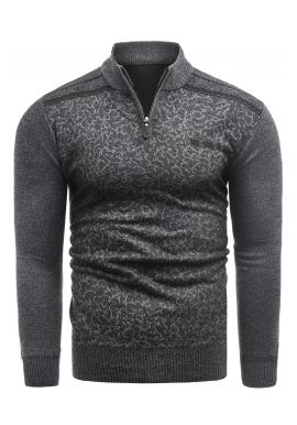 Pánský stylový svetr se vzorem v tmavě šedé barvě